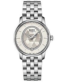 Women's Swiss Automatic Baroncelli Diamond (1/10 ct. t.w.) Stainless Steel Bracelet Watch 33mm