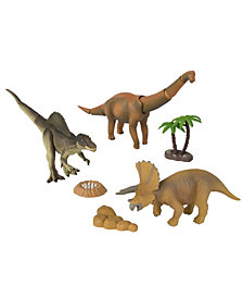 Tomy - Ania Dino Stomp Value Pack- Tricerotops, Brachiosaurus, Spinosaurus With Tree, Rocks And A Nest With Eggs