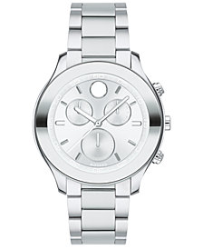 Movado Women's Swiss Chronograph BOLD Stainless Steel Bracelet Watch 39mm