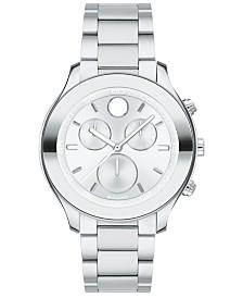 Movado Women's Swiss Chronograph BOLD Stainless Steel Bracelet Watch 39mm