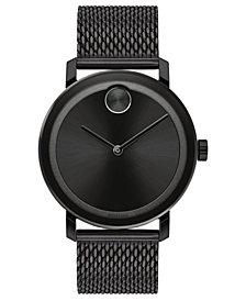 Movado Men's Swiss BOLD Evolution Black Stainless Steel Bracelet Watch 40mm