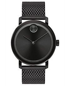 Movado Men's Swiss BOLD Evolution Black Stainless Steel Bracelet Watch 40mm