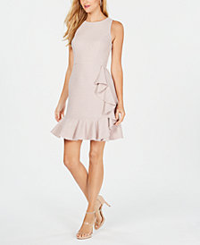 Nine West Ruffled Glitter Sheath Dress
