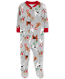 Carter's Baby Boys Holiday Dog-Print Footed Fleece Pajamas