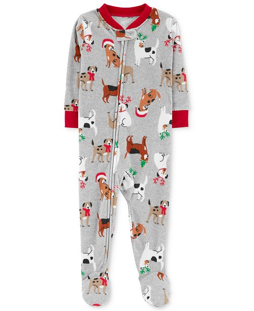012ff1a5d Carter's Baby Boys Holiday Dog-Print Footed Fleece Pajamas ...