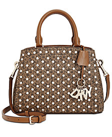 DKNY Paige Sutton Leather Studded Logo  Satchel, Created for Macy's