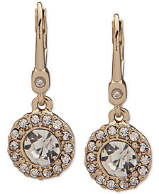 Ivanka Trump Gold-Tone Crystal Halo Drop Earrings
