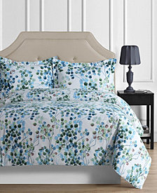 Madrid Printed Leaves Oversized Queen Duvet Cover Set