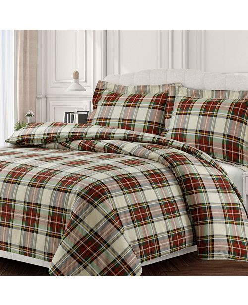 Tribeca Living Charleston Cotton Flannel Printed Oversized Queen Duvet Set