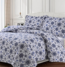 Snowflakes Cotton Flannel Printed Oversized Queen Duvet Set