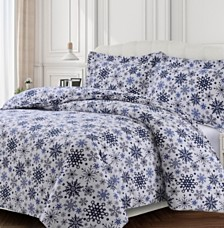 Snowflakes Cotton Flannel Printed Oversized Duvet Sets