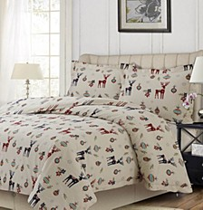 Reindeer Printed Heavyweight Flannel Oversized Queen Duvet Set