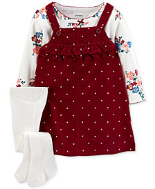 Carter's Baby Girls 3-Pc. Floral-Print Cotton T-Shirt, Jumper & Tights Set