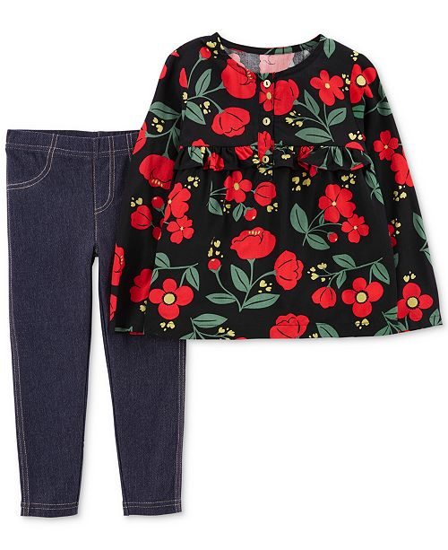 e977a02170bb Carter's Baby Girls 2-Pc. Floral-Print Tunic & Jeggings Set & Reviews ...