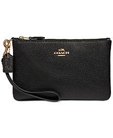 COACH Boxed Small Wristlet in Pebble Leather