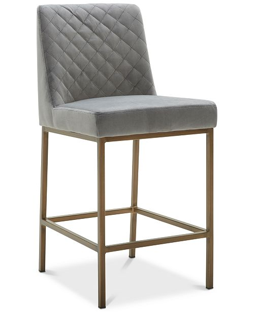 Furniture Cambridge Grey Velvet Counter Stool