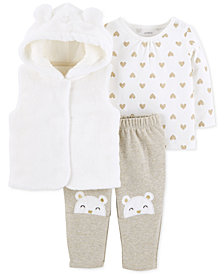 Carter's Baby Girls 3-Pc. Faux-Fur Vest, Heart-Print T-Shirt & Bear Pants Set