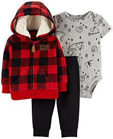 Carter's Baby Boys 3-Pc. Buffalo-Check Hoodie, Printed Bodysuit & Pants Set