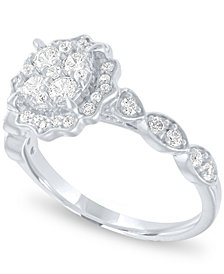 Diamond Halo Cluster Ring (3/4 ct. t.w.) in 14k White Gold