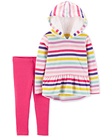 Carter's Baby Girls 2-Pc. Striped Hoodie & Glitter Leggings Set