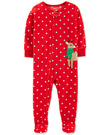 carters baby girls fleece reindeer pajamas