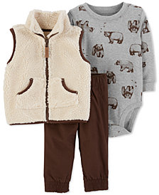Carter's Baby Boys 3-Pc. Faux Sherpa Vest, Bodysuit & Pants Set