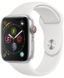 AppleWatch Series4 GPS+Cellular, 44mm Silver Aluminum Case with White Sport Band