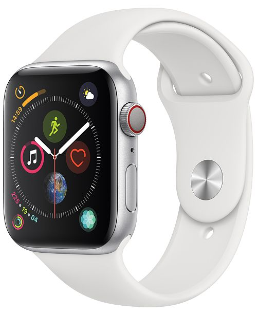 Apple Watch Series 4 AppleWatch Series4 GPS+Cellular, 44mm Silver Aluminum Case with White Sport Band