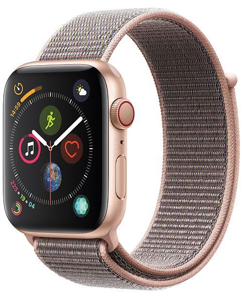 Apple Watch Series 4 AppleWatch Series4 GPS+Cellular, 44mm Gold Aluminum Case with Pink Sand Sport Loop
