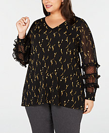 Alfani Plus Size Printed Ruffled Top, Created for Macy's