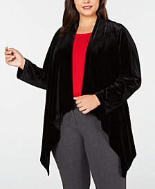 Calvin Klein Plus Size Velvet Draped Jacket