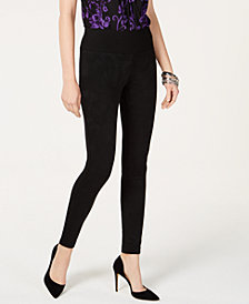 I.N.C. Suede-Front Ponte-Back Skinny Pants, Created for Macy's