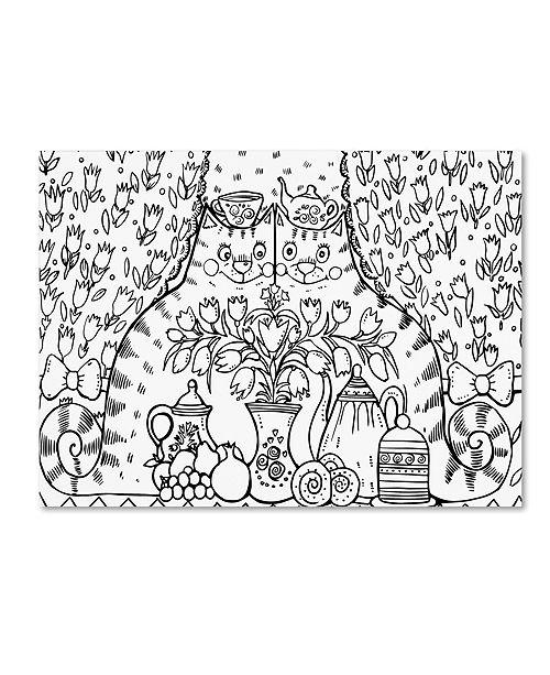 "Trademark Global Oxana Ziaka 'Tea Cats 2' Canvas Art - 19"" x 14"" x 2"""