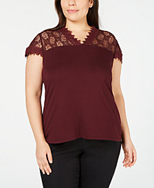 I.N.C. Plus Size Lace-Trim Top, Created for Macy's
