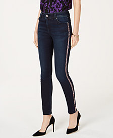 I.N.C. Rainbow-Sequin-Striped Skinny Jeans, Created for Macy's