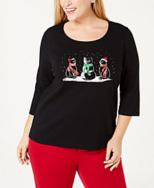Karen Scott Plus Size Cotton Embellished Holiday Cats Top, Created for Macy's