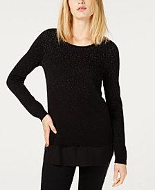 I.N.C. Metallic Layered-Look Sweater, Created for Macy's