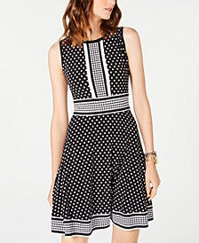Dotted Border-Print Dress, Regular & Petite Sizes