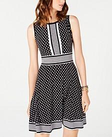 Dotted Border-Print Dress, Regular & Petite Sizes