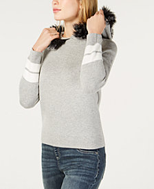 I.N.C. Hooded Faux-Fur Trim Sweater, Created for Macy's