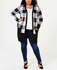 Joseph A Plus Size Plaid Cardigan
