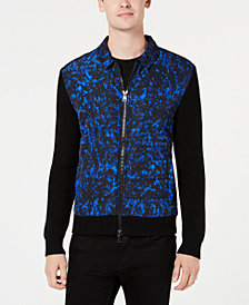 Michael Kors Men's Quilted Full-Zip Mixed Media Sweater