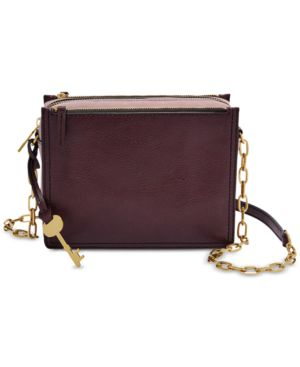 Image of Fossil Campbell Leather Chain Crossbody