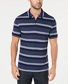 Alfani Men's Overdyed Stripe Quarter-Zip Polo, Created for Macy's