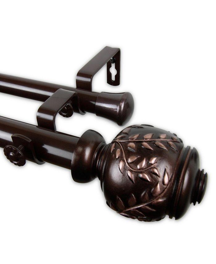 "Rod Desyne - Colette Double Curtain Rod 1"" OD 66-120 inch - Bronze"