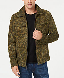 Michael Kors Men's Camouflage Suede Trucker Jacket