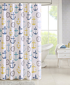 "Madison Park Essentials Hudson 72"" x 72"" Nautical Printed Shower Curtain"