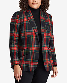 Lauren Ralph Lauren Plus Size Twill Plaid Blazer