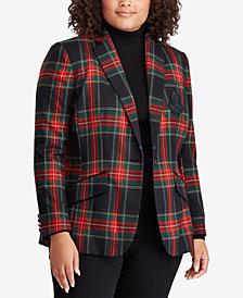 Lauren Ralph Lauren Plus Size Twill Plaid Blazer