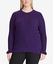 Lauren Ralph Lauren Plus Size Cable-Knit Cotton Sweater